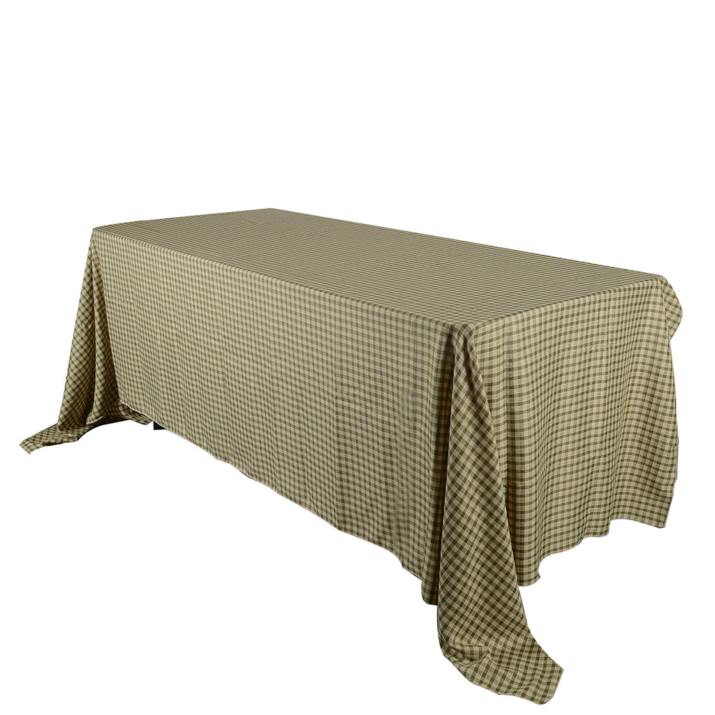 Spring Moss - Checkered/ Plaid Rectangle Tablecloths - ( 58 inch x 126 inch )