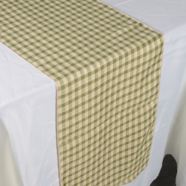 Spring Moss - Checkered/ Plaid Table Runner - ( 14 inch x 90 inch )