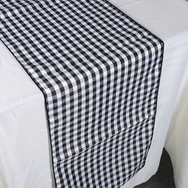 Black - Checkered/ Plaid Table Runner - ( 14 inch x 90 inch )