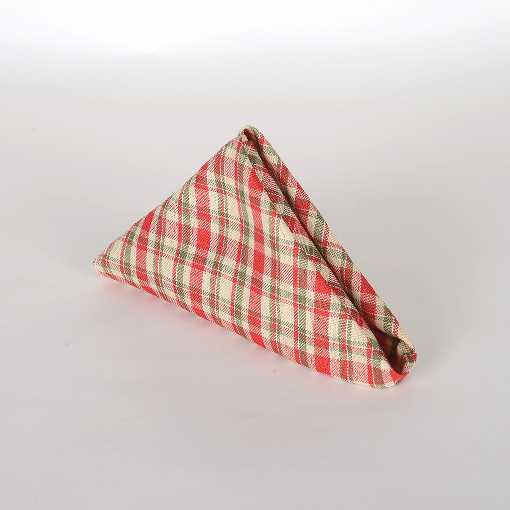 Red - Checkered/ Plaid Napkins - Pack of 4
