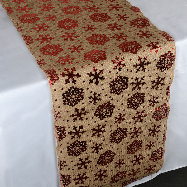 Snowflake Natural - 100% Natural Jute Burlap Table Runner ( 14 inch x 108 inches )
