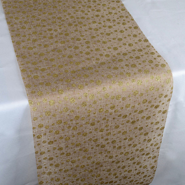 Shiny Dots Faux Burlap Jute Table Runner ( 14 inch x 108 inches )