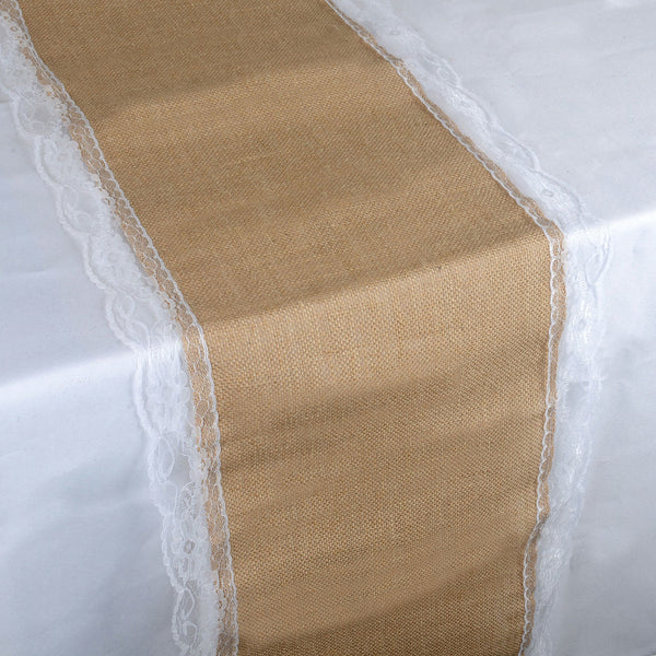 Natural Lace Edge Faux Burlap Jute Table Runner ( 14 inch x 108 inches )
