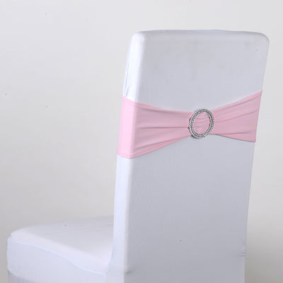 Light Pink Spandex Chair Sash w. Buckle 5 pieces