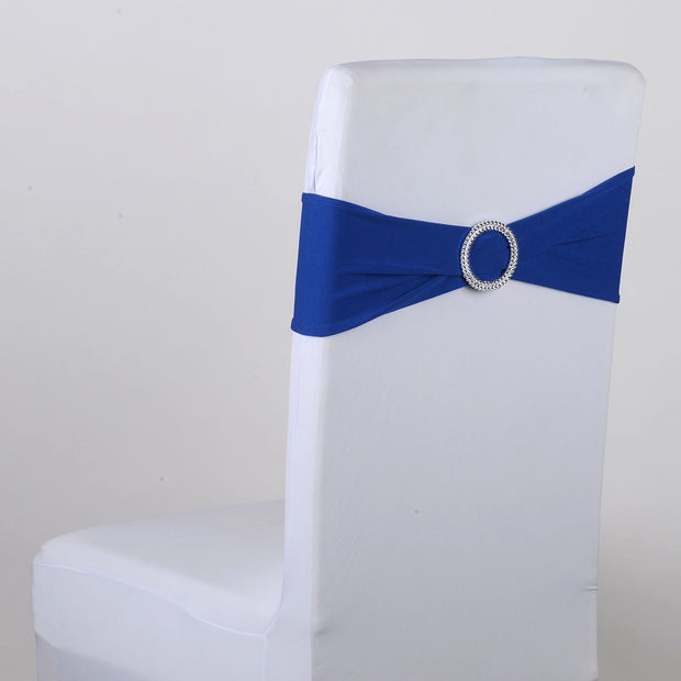 Royal Blue Spandex Chair Sash w. Buckle 5 pieces