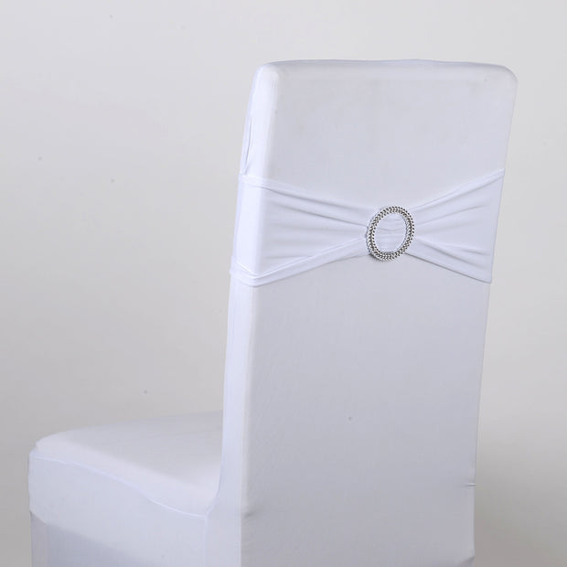 White Spandex Chair Sash w. Buckle 5 pieces