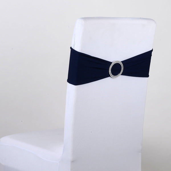 Navy Blue Spandex Chair Sash w. Buckle 5 pieces