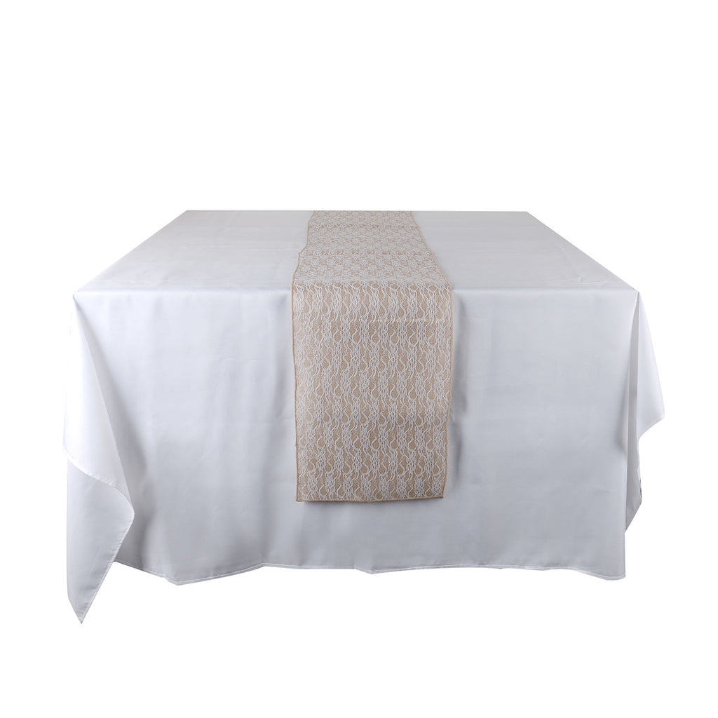 Lace Flower Burlap Table Runner