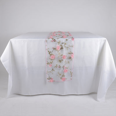 Pink Organza with 3D Roses Table Runner