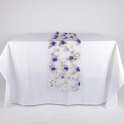 Purple Organza with 3D Roses Table Runner