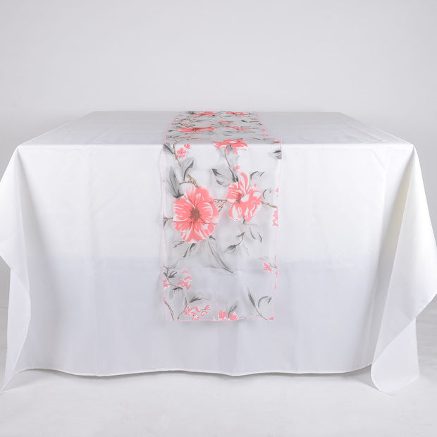 Pink Organza with Flower Print Table Runner