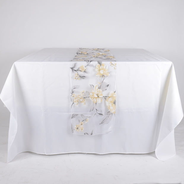 Ivory Organza with Flower Print Table Runner