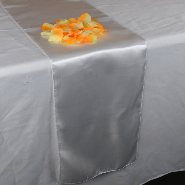 WHITE SATIN Table Runner - ( 12 inch x 108 inches )