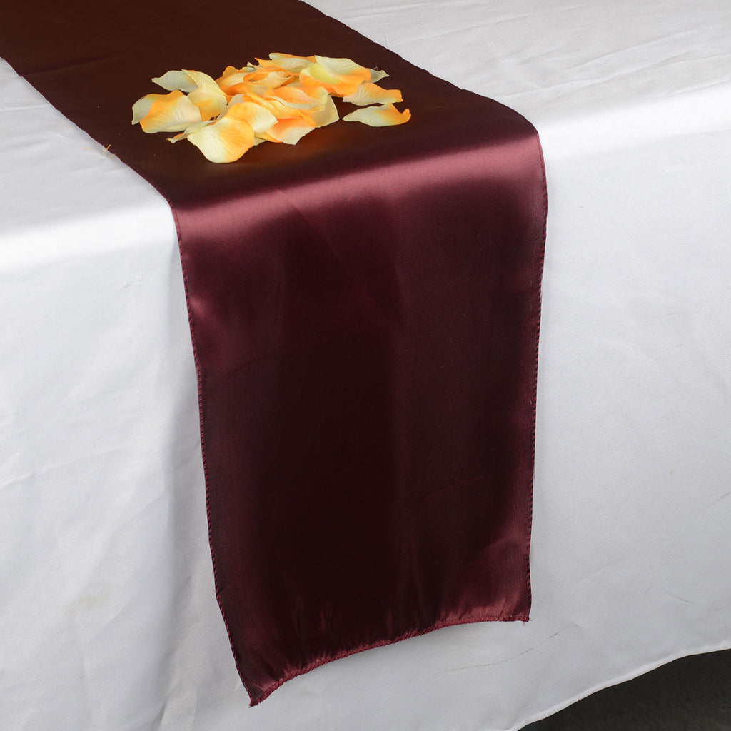 BURGUNDY SATIN Table Runner - ( 12 inch x 108 inches )