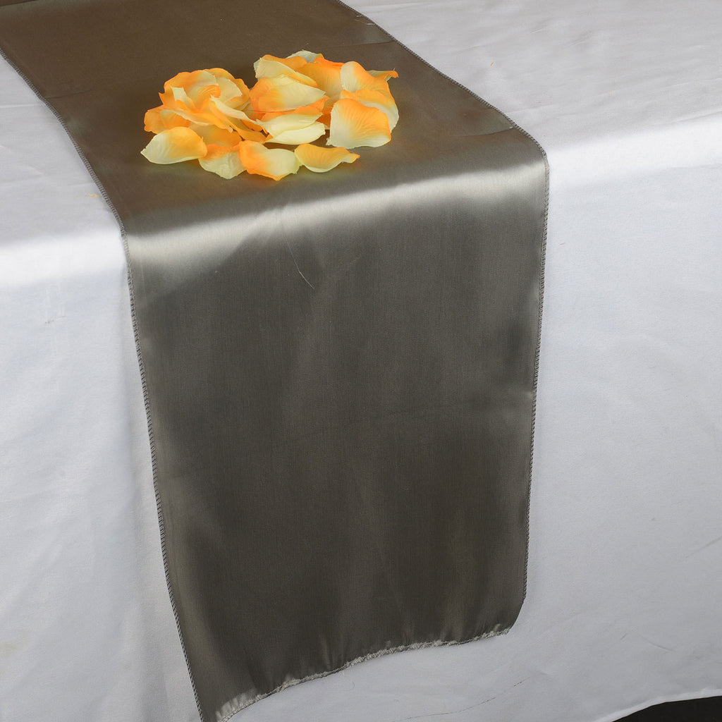 SILVER SATIN Table Runner - ( 12 inch x 108 inches )