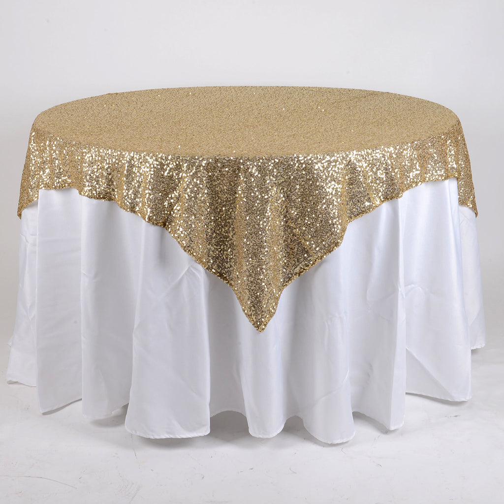 Champagne 72 Inch x 72 Inch SQUARE Duchess SEQUIN Overlay