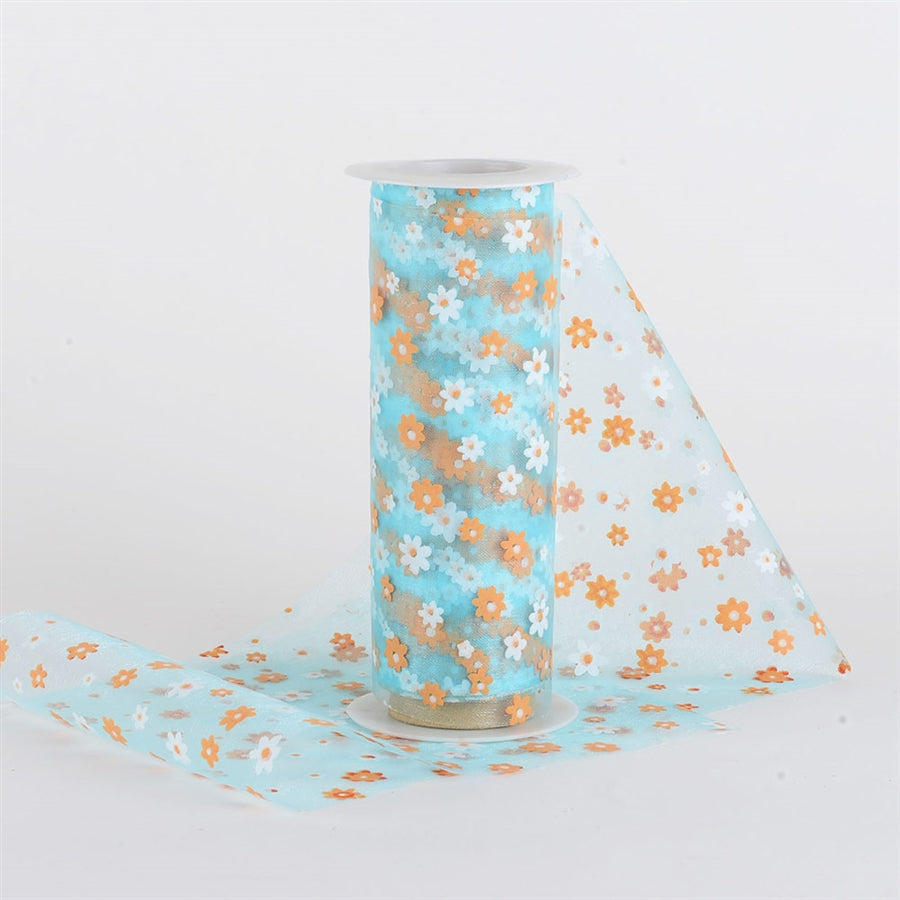 Light Blue and ORANGE ORGANZA Flower Roll 6 inch x 10 yards