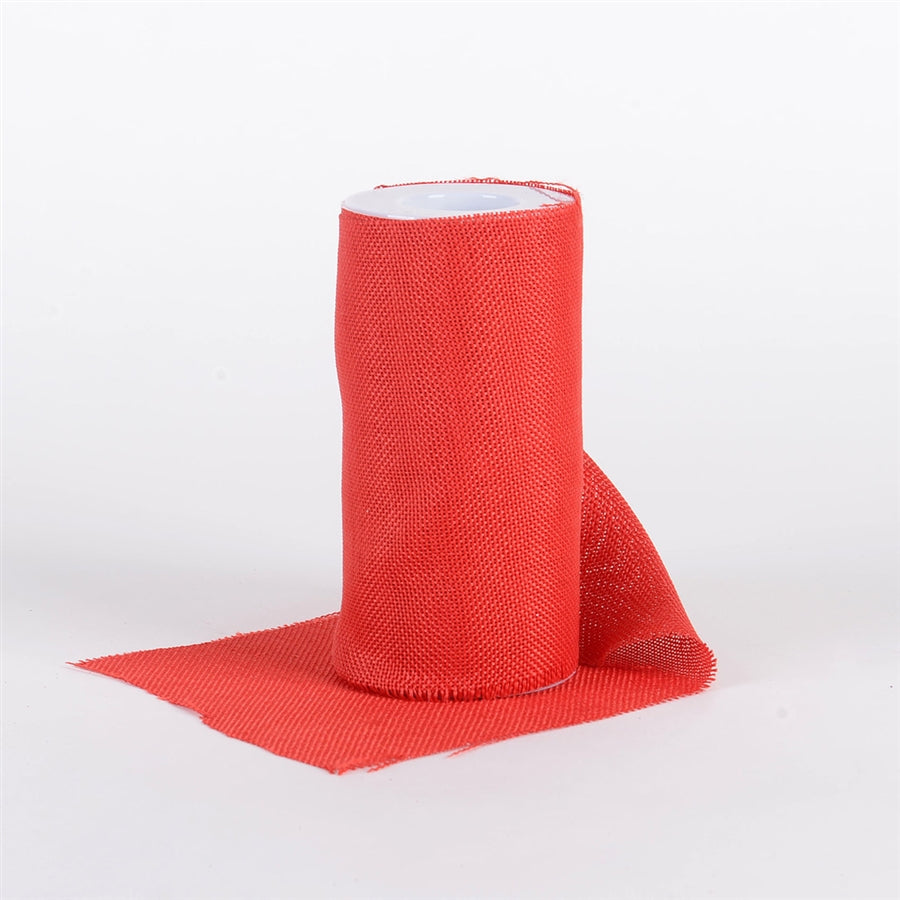 RED - 6 inch Faux Burlap Roll