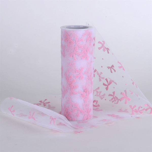 Bow Design Tulle Roll Lt Pink
