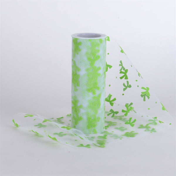 Bow Design Tulle Roll APPLE GREEN