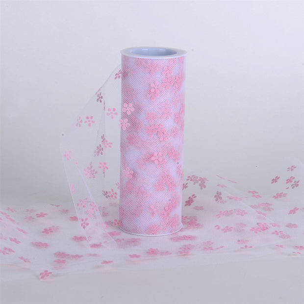 Snowflake Design Tulle Lt Pink