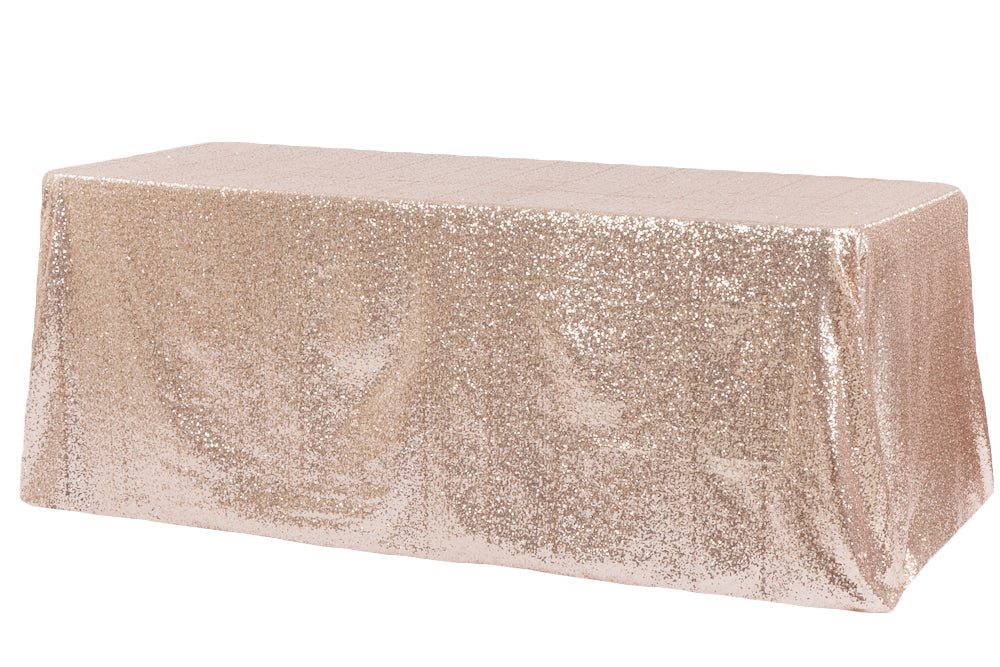 Blush 60x126 inch Rectangular Duchess Sequin Tablecloth
