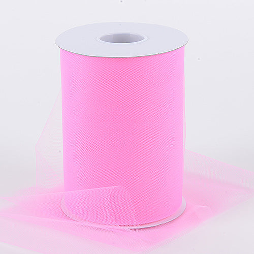 HOT PINK Premium Quality Nylon 6 Inch Tulle Roll 100 Yards