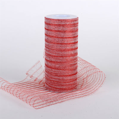 Glitter Multi Striped Tulle RED