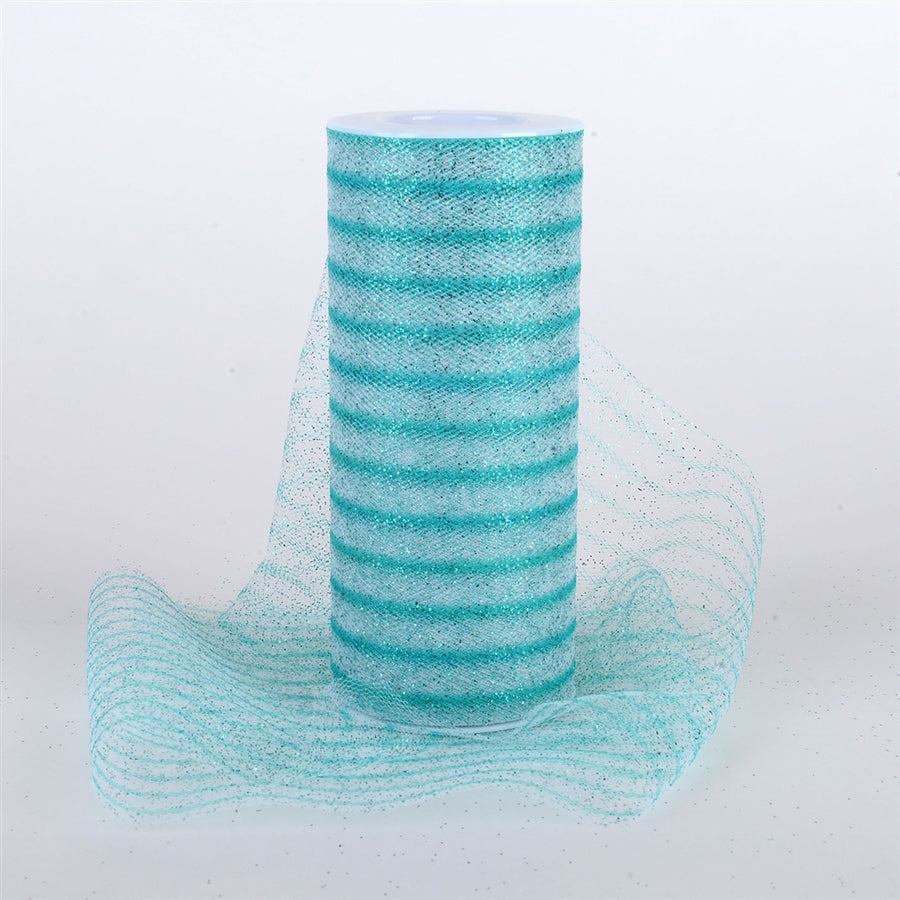 Glitter Multi Striped Tulle Aqua