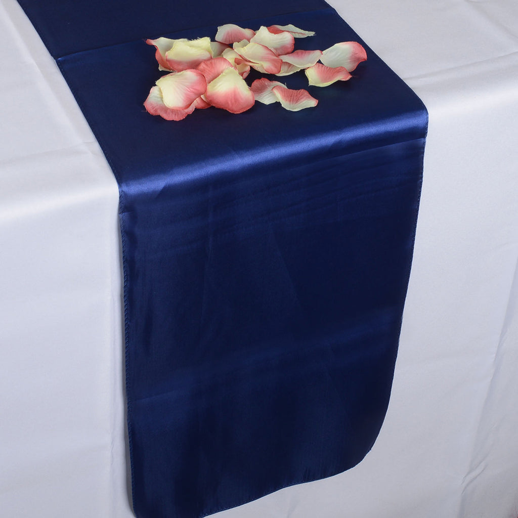 NAVY SATIN Table Runner - ( 12 inch x 108 inches )