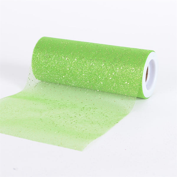 APPLE GREEN Confetti ORGANZA 6 Inch Roll 10 Yards