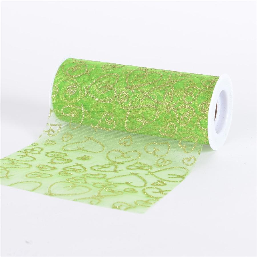APPLE GREEN Glitter Heart ORGANZA 6 Inch Roll 10 Yards