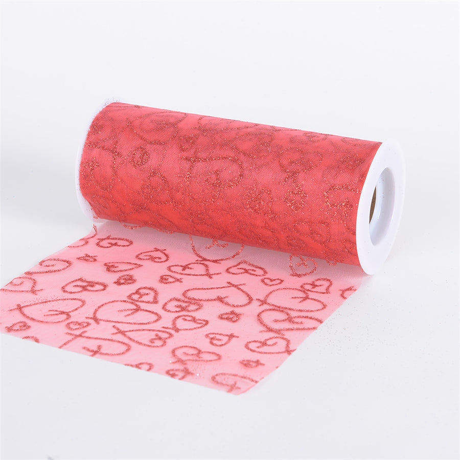 RED Glitter Heart ORGANZA 6 Inch Roll 10 Yards