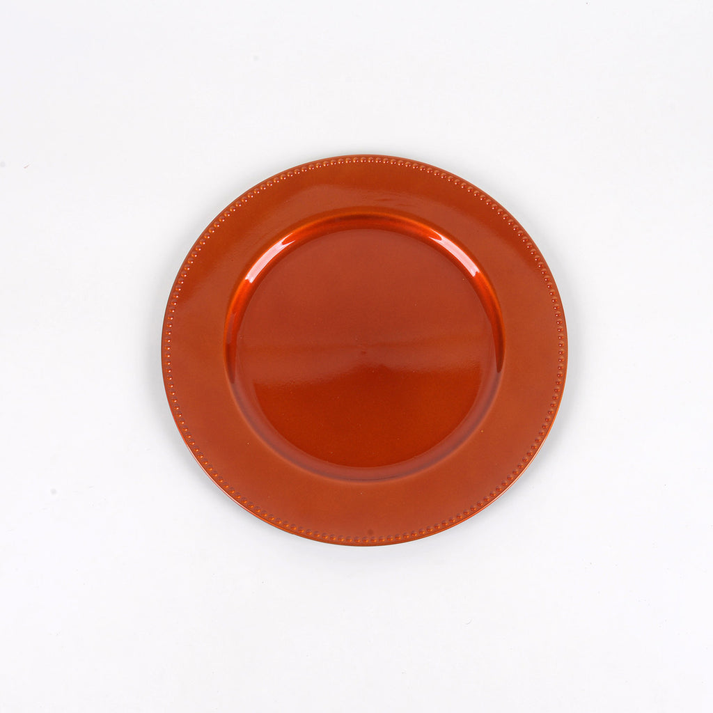 13'' Orange Round Charger Plates - Pack of 6