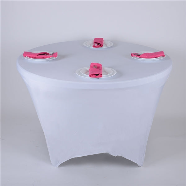 WHITE 8 Seat ROUND Spandex Tablecloths