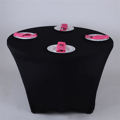 BLACK 8 Seat ROUND Spandex Tablecloths
