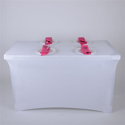WHITE 6 Ft Rectangular Spandex Table Cover