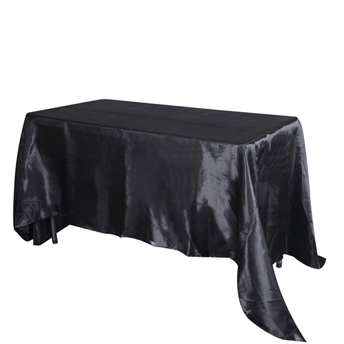 BLACK 90 Inch x 156 Inch Rectangular SATIN Tablecloths