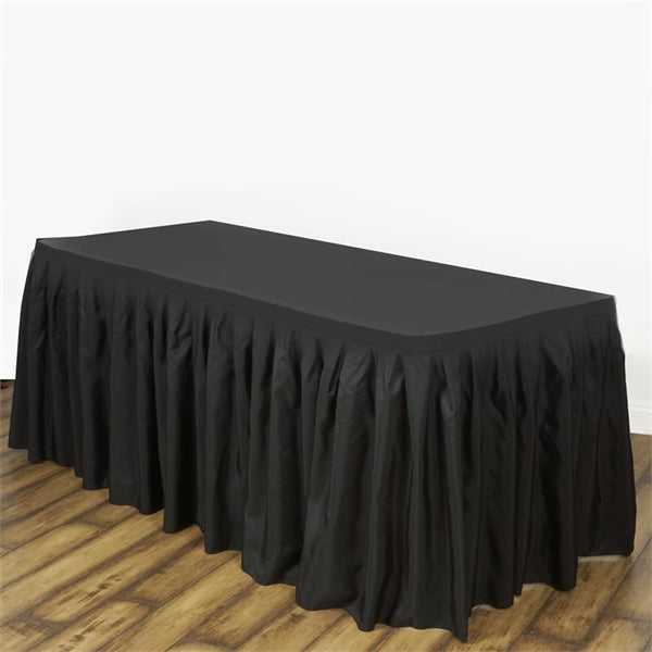 BLACK POLYESTER Table Skirt 21 Feet