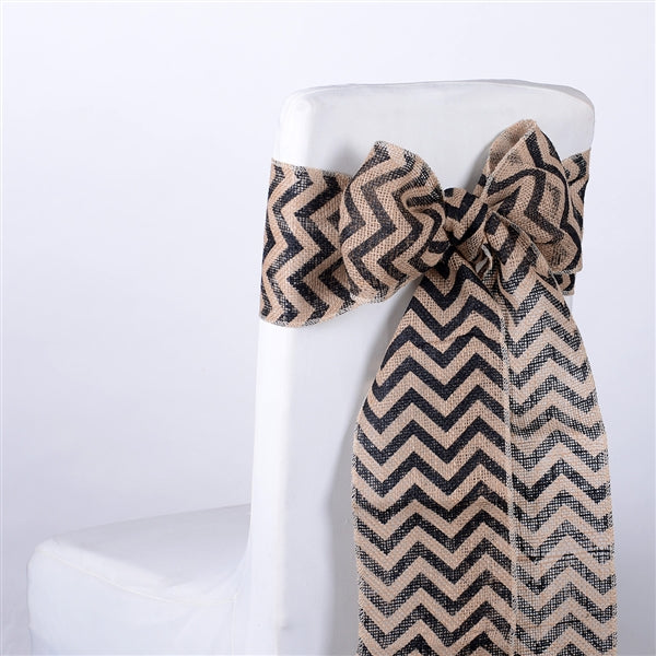 BLACK Chevron Burlap Chair Sash ( Pack of 5 )