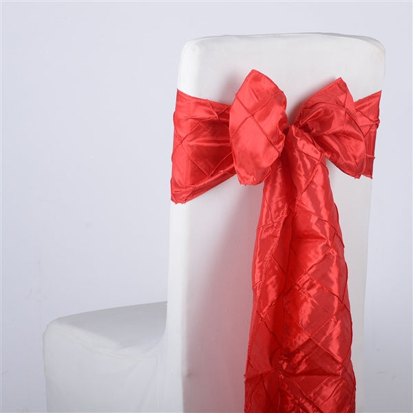 RED PINTUCK Chair Sashes 10 Pieces