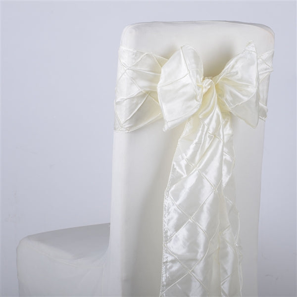 IVORY PINTUCK Chair Sashes 10 Pieces