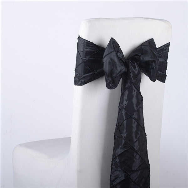 BLACK PINTUCK Chair Sashes 10 Pieces