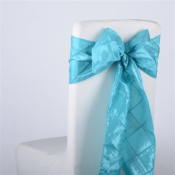 TURQUOISE PINTUCK Chair Sashes 10 Pieces