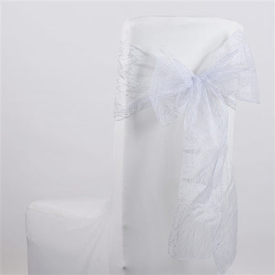 WHITE Glitter ORGANZA Chair Sash 10 Pieces
