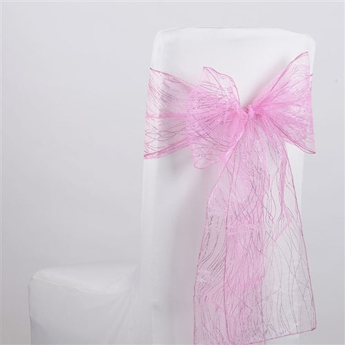 Light Pink Glitter ORGANZA Chair Sash 10 Pieces