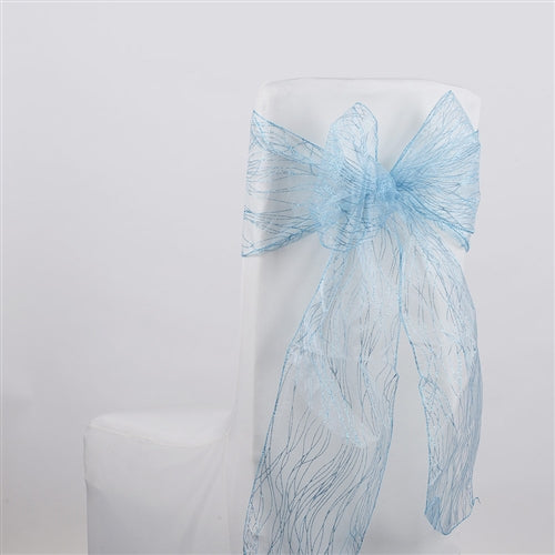 Light Blue Glitter ORGANZA Chair Sash 10 Pieces