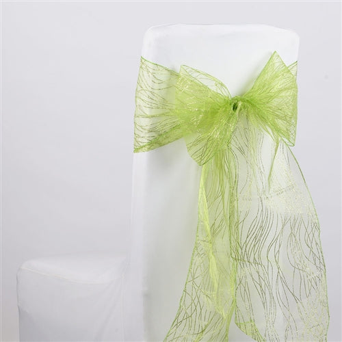 APPLE GREEN Glitter ORGANZA Chair Sash 10 Pieces