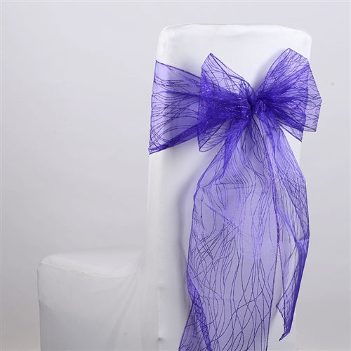 PURPLE Glitter ORGANZA Chair Sash 10 Pieces