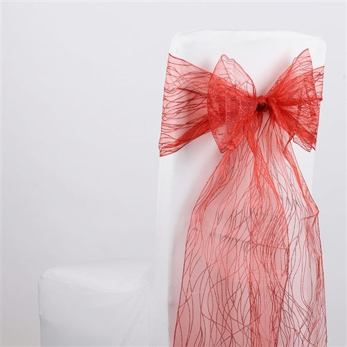 RED Glitter ORGANZA Chair Sash 10 Pieces